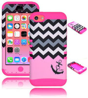 iPhone 5c, 5th Gen Hybrid Anchor Chevron  Case + Hot Pink Silicone Cover - BastexShop
