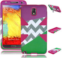 Samsung Galaxy Note 3 - Hybrid Purple+Green Chevron Case+Hot Pink Silicone - BastexShop