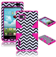 LG F3 Optimus MS659LS720 Hybrid Black  White Chevron Case + Pink Silicone - BastexShop