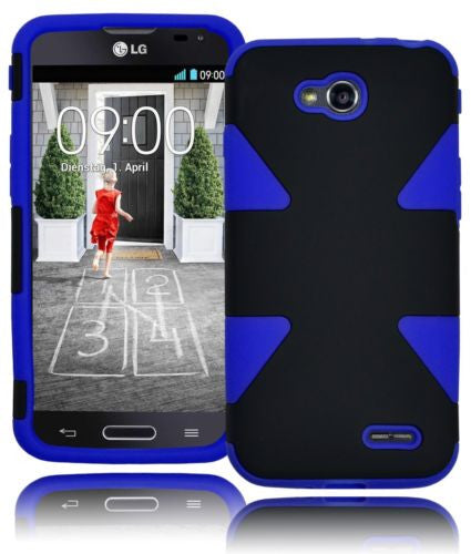 Hybrid Solid Black Case Cover+Royal Sky Blue Silicone  LG Optimus Zone L34C - BastexShop