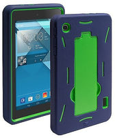 Alcatel One Touch Pop 7 Hybrid Dual Layer Green Cover  Blue Stand Case - BastexShop