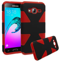 Samsung Galaxy J3 Case, Bastex Dynamic Slim Fit Heavy Duty Protection Hybrid Dual Layer Hard Plastic Case Rubber Silicone Cover - Black + Red - BastexShop