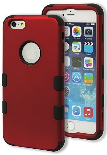 iPhone 6 Plus 5.5, Hybrid   Black Silicone Cover with Red  Case - BastexShop