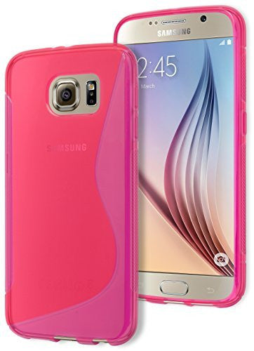 Galaxy S6 Case,   Hot Pink Rubber Gel Silicone Protective Case Cove - BastexShop