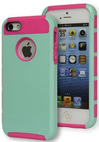 Hybrid Teal Case Cover + Neon Pink Silicone  iPhone 5, 5s - BastexShop