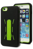 "iPhone 6 Plus, 5.5"" Hybrid Neon Green Kickstand Case with Black  Cover - BastexShop"