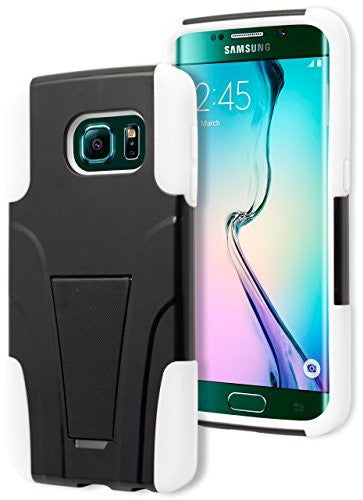Samsung Galaxy S6 Edge, Hybrid Protective Dual Layer Black and White Kick - BastexShop