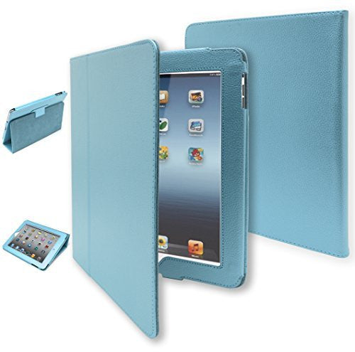 iPad Protective Kickstand Case - Sky Blue Leather Folio - BastexShop