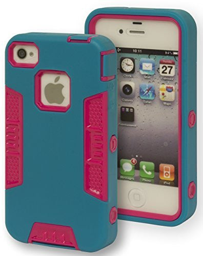 Hybrid Teal and Hot Pink Robotic Design Case Cover  iPhone 4,4s - BastexShop