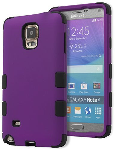 Samsung Galaxy Note 4 Hybrid Shockproof  Black Cover  Purple Case - BastexShop