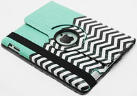 iPad Teal with Black and White Chevron Kickstand Case - BastexShop