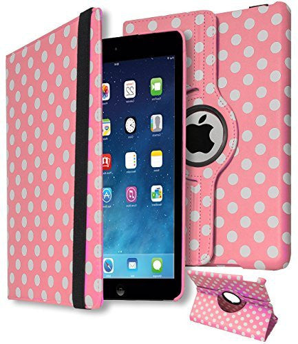 iPad Air Protective Polka Dot Design with Rotating Stand Case Cover - BastexShop