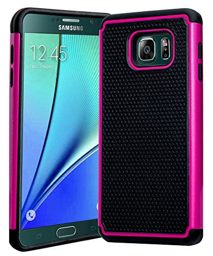 Galaxy Note 5 Case, Hybrid  Black Cover with Hot Pink Shock Armor Design - BastexShop