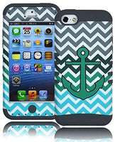 Hybrid Case  Apple Iphone 5c - Grey Silicone with Teal & White Anch - BastexShop