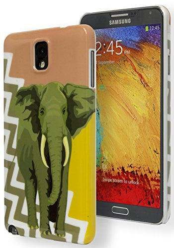 Samsung Galaxy Note 3 Antique Coral Gold Chevron with Elephant Snap On Case - BastexShop