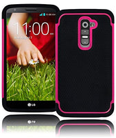 Black Silicone Grip Cover+  Hot Pink Hybrid Case  LG G2 VS980 D800 - BastexShop