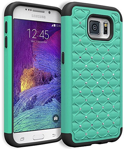 Galaxy S7 Heavy Duty Slim Fit Hybrid Rubber Silicone Cover with Bling Rhinestone Premium Dual Shock Phone Case for Samsung Galaxy S7 (Tea - BastexShop