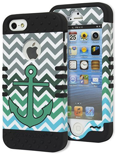 iPhone 5, 5S, 5G Hybrid Tuff  Black Cover Green Anchor Chevron  Case - BastexShop