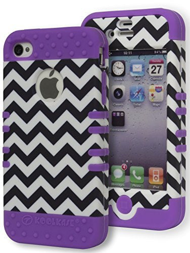 Hybrid Zebra Print  Case+ Neon Purple Silicone Cover  iPhone 4, 4s - BastexShop