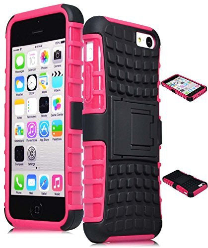 iPhone 5C Pink Hybrid  Kickstand  Case+ Silicone Cover - BastexShop