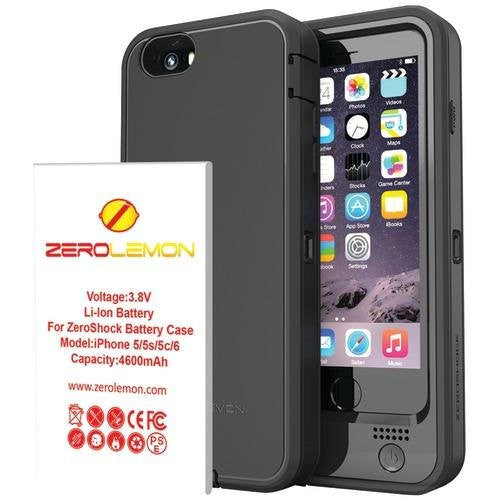 iPhone 6/6s Battery Case, ZeroLemon 4600mAh ZeroShock Double Layer Extended Battery Charging Case for iPhone 6/6s 4.7″ + Belt Clip Holster -Black - BastexShop