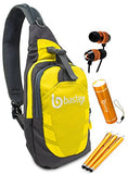"Bastex On the ""GO"" Bundle, Yellow Shoulder Travel Sports Backpack. With LED Mini Flashlight, and 3pk Stylus, Wired Ear Bud Headphones with Mic - BastexShop"