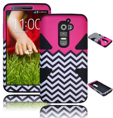 Hybrid Case  LG G2 VS980 D800 Black Silicone  Hot pink - BastexShop