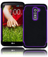 Black Silicone Grip Cover+Purple   Hybrid Case  LG G2 VS980 D800 - BastexShop