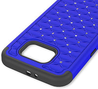 Galaxy S7 Heavy Duty Slim Fit Hybrid Rubber Silicone Cover with Bling Rhinestone Premium Dual Shock Phone Case for Samsung Galaxy S7 (Blue) - BastexShop