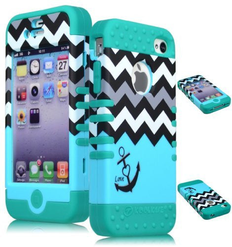 Hybrid Case  iPhone 4, 4s, 4th Generation - Teal Silicon - BastexShop
