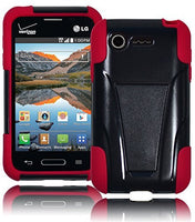 Hybrid Solid Black Kickstand Case + Bright Red Silicone  LG Optimus Zone L34C - BastexShop