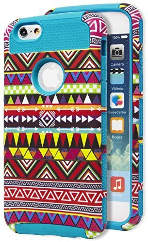 "iPhone 6 4.7"" Hybrid   Durable Sky Blue  Cover Aztec  Case - BastexShop"