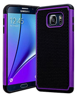 Galaxy Note 5 Case, Hybrid  Black Cover with Purple Shock Armor Design Ca - BastexShop