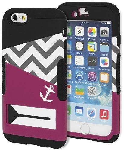 "Hybrid Hot PinkBlack Chevron Anchor Case+Kickstand Cover  iPhone 6 (4.7"") - BastexShop"