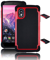 Hybrid Case  LG Nexus 5 - Black Silicone Cover with Red - BastexShop
