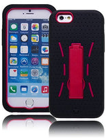 "iPhone 6, 4.7""   Durable Black Case  Hot Pink Kickstand Cover - BastexShop"