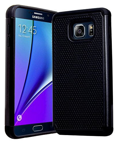 Galaxy Note 5 Case, Hybrid  Black Cover with Black Shock Armor Design Cas - BastexShop