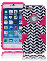 "Hybrid Protective Pink Silicone with BlackWhite Chevron Case  iPhone 6, 4.7"" - BastexShop"