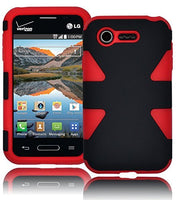 Hybrid Solid Black  Case+Red Silicone Shell  LG Optimus Zone 2 L34C - BastexShop