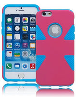 "Hybrid Sky Blue Silicone with Pink  Case Cover  iPhone 6, 4.7"" - BastexShop"