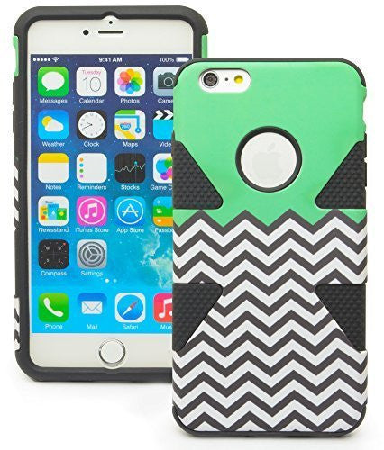 iPhone 6 Plus, 5.5 Hybrid Black Cover Teal Top Black and White Chevron Case - BastexShop