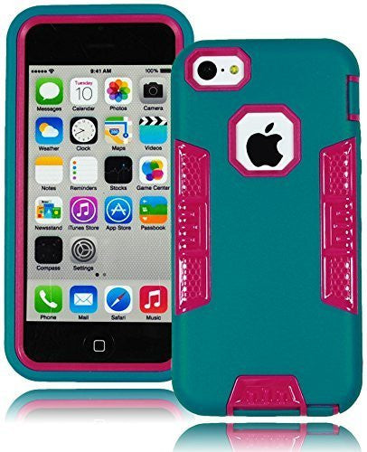 Hybrid Rubberized Hot Pink and Black Robotic Case Cover  iPhone 5, 5s, 5g - BastexShop
