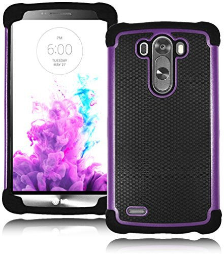 Deluxe Black Silicone Cover+Purple & Black Non-Slip Grip Hybrid Case  LG G3 - BastexShop