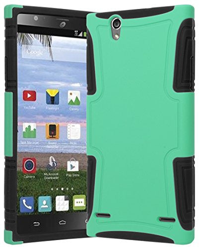 new concept 18b25 0cc5a ZTE Lever Z936L Phone Case, Hybrid Black Silicone Cover Teal