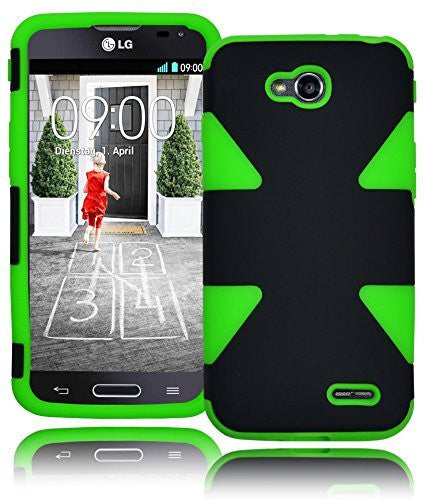 Hybrid Solid Black  Case+Neon Green Silicone Shell  LG Optimus L90-D410 - BastexShop