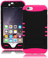 "Hybrid Neon Pink + Black Protective Case Cover with Kickstand  iPhone 6, 4.7"" - BastexShop"