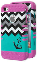 iPhone 4, 4s, 4g, Hybrid Purple Silicone with Teal Love Chevron Design Case - BastexShop