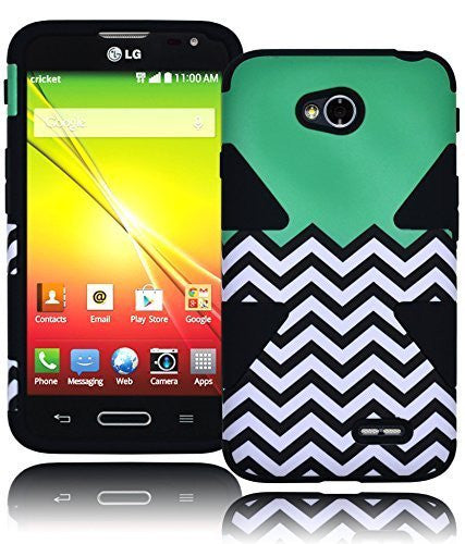 Hybrid Teal Chevron Design Case Cover+Black Silicone  LG Optimus L70 - BastexShop