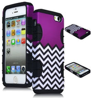 Hybrid Case  Apple Iphone 5 - Black Silicone with  Purple & Whi - BastexShop
