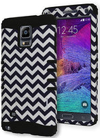 Samsung Galaxy Note 4, Hybrid Black and White Chevron Kickstand Case Cover - BastexShop